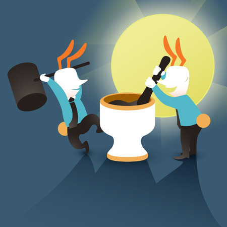 vector illustration concept of cooperation Mid-autumn festival Jade Rabbit Grinds Medicine Vector
