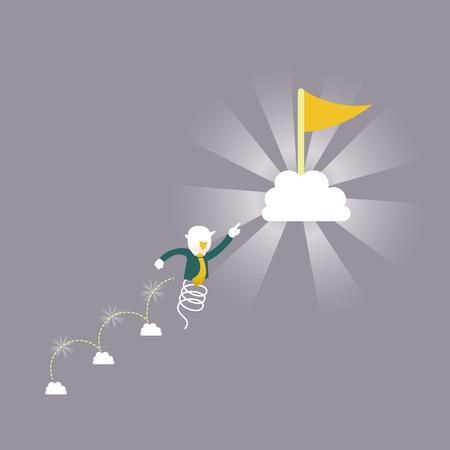flat design vector illustration concept of keep going up Illustration