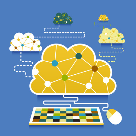 flat design vector illustration concept of cloud computing Ilustrace