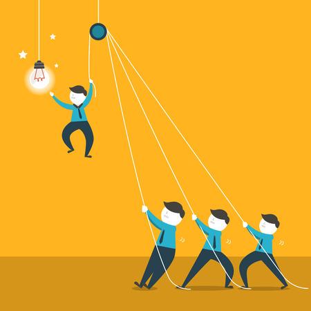 team working: design piatto illustrazione vettoriale concetto di lavoro di squadra Vettoriali