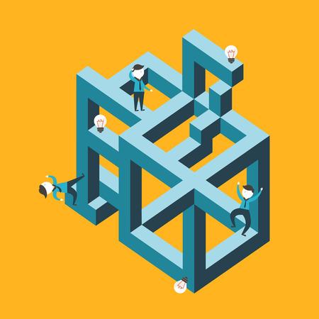 flat design vector illustration concept of confused