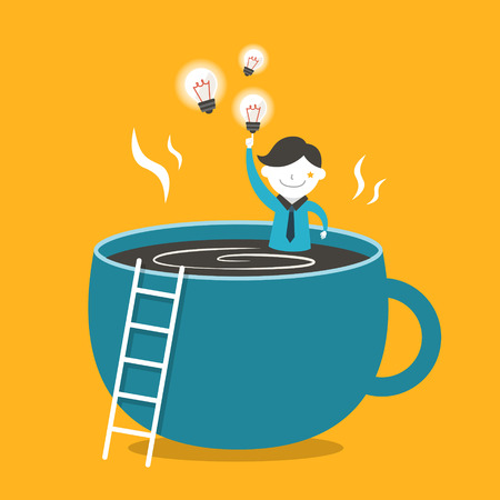 coffee time: flat design vector illustration concept of coffee and idea