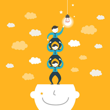 team working together: flat design vector illustration concept of team work