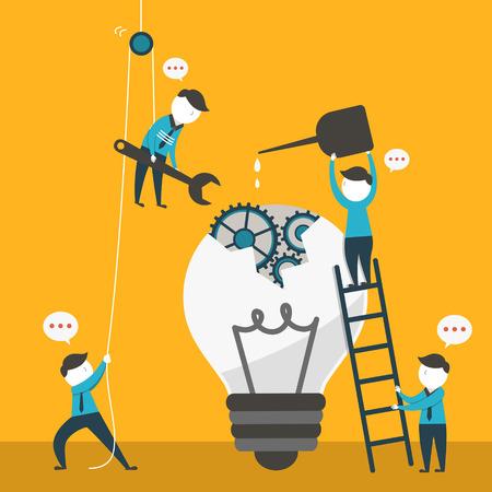 team working: illustrazione design piatto vettoriale concetto di lavoro di squadra Vettoriali