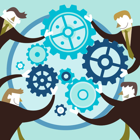 flat design vector illustration concept of team work Vector