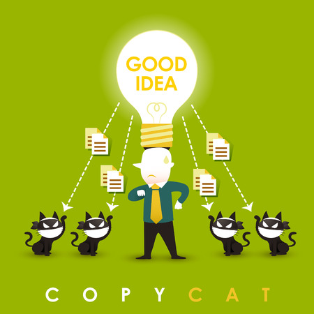 stop piracy: flat design vector illustration concept of copycat
