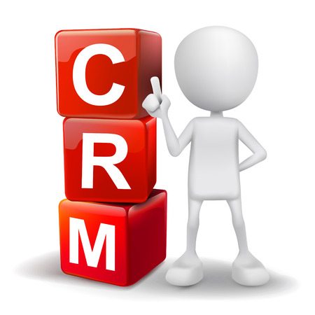relationship management: vector 3d human with word CRM Customer Relationship Management cubes on white background