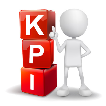 白い背景の上の単語 KPI 主要業績評価指標のキューブとベクター 3 d 人間