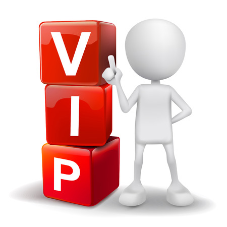 very important person: vector 3d human with word VIP very important person cubes on white background Illustration
