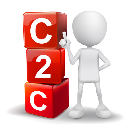 b2e: vector 3d human with word C2C client to client cubes on white background Illustration