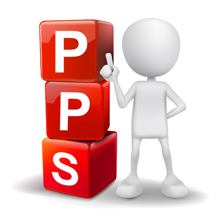 advertiser: vector 3d human with word PPS pay per sale  cubes on white background