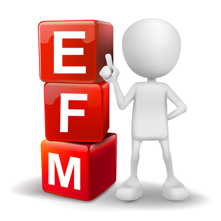 vector 3d human with word EFM enterprise feedback management cubes on white background Vector
