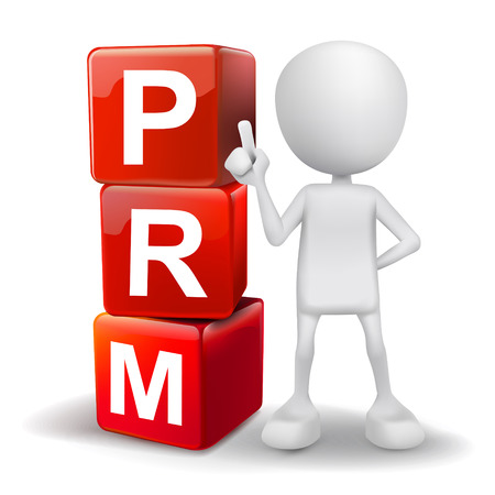relationship management: vector 3d human with word PRM partner relationship management  cubes on white background