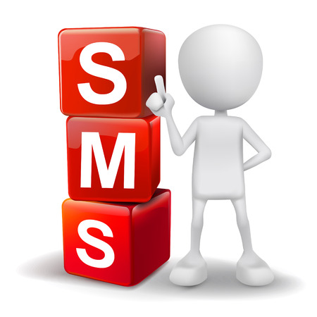 short message service: vector 3d human with word SMS short message service cubes on white background