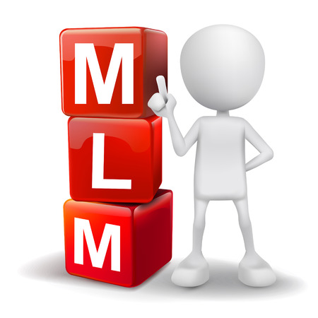 multi level: vector 3d human with word MLM Multi Level Marketing cubes on white background