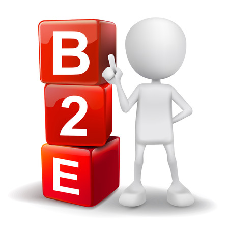 b2e: vector 3d human with word B2E business to employee  cubes on white background