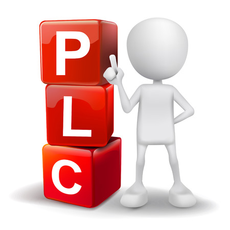 plc: vector 3d human with word PLC product life cycle cubes on white background