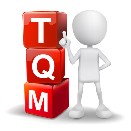 vector 3d human with word TQM total quality management cubes on white background Vector