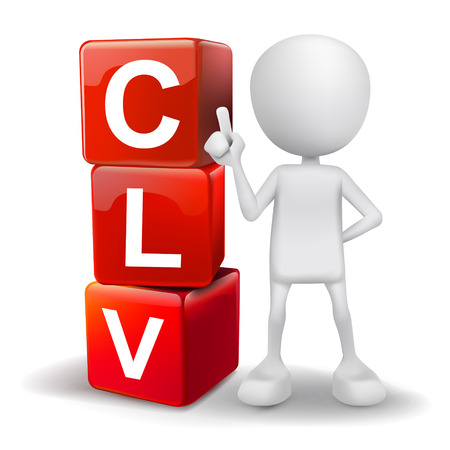 lifetime: vector 3d human with word CLV customer lifetime value cubes on white background