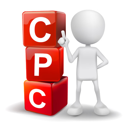 cpc: vector 3d human with word CPC cost per click cubes on white background