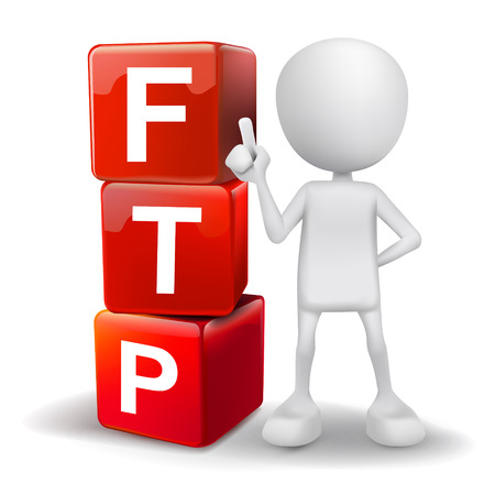 data transmission: vector 3d human with word FTP file transfer protocol cubes on white background