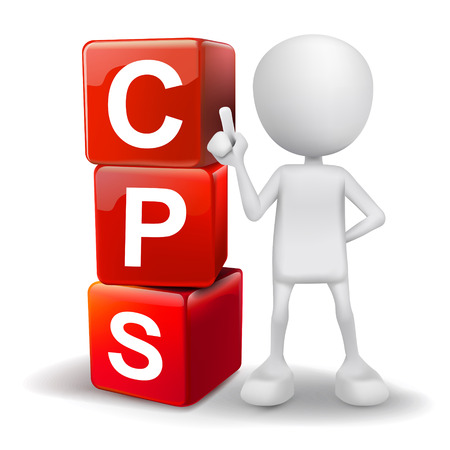 management system: vector 3d human with word CPS cost per sale cubes on white background Illustration