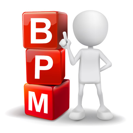 bpm: vector 3d human with word BPM business process management cubes on white background Illustration