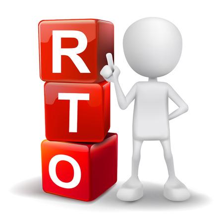vector 3d humano con palabras RTO de tiempo de recuperación cubos objetivos sobre fondo blanco