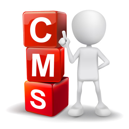 cms: vector 3d human with word CMS content management system cubes on white background