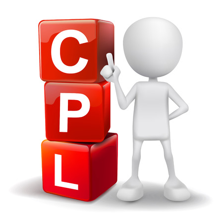 cpl: vector 3d human with word CPL cost per lead cubes on white background