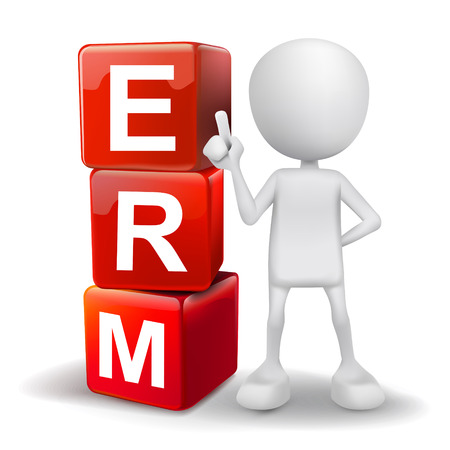 erm: vector 3d human with word ERM enterprise risk management cubes on white background