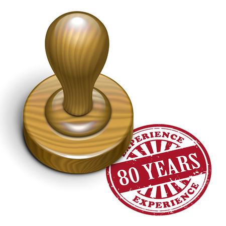 80 years: illustration of grunge rubber stamp with the text 80 years experience written inside