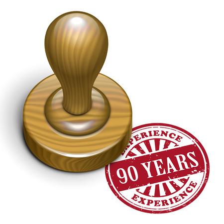 90 years: illustrazione del grunge timbro di gomma con il testo 90 anni di esperienza scritto dentro