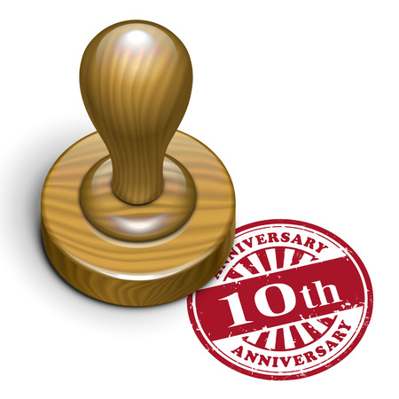 10th: illustration of grunge rubber stamp with the text 10th anniversary written inside