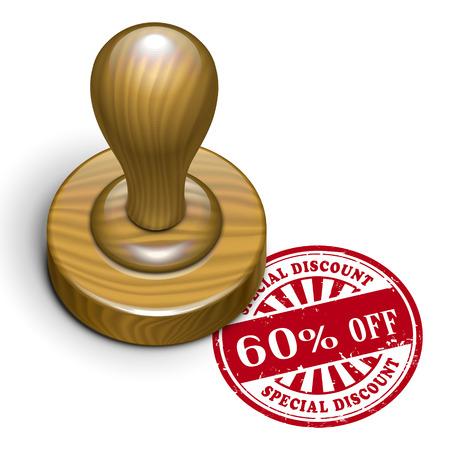 rubberstamp: illustrazione del grunge timbro di gomma con il testo il 60 per cento di sconto scritto dentro Vettoriali
