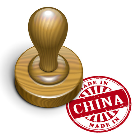 illustration of grunge rubber stamp with the text made in China written inside Vector