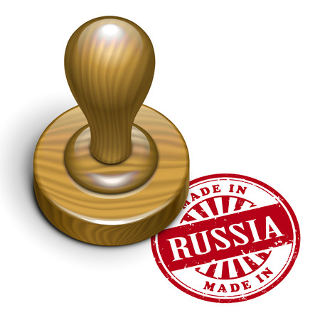 illustration of grunge rubber stamp with the text made in Russia written inside Vector