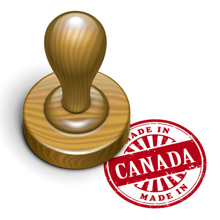 illustration of grunge rubber stamp with the text made in Canada written inside Vector