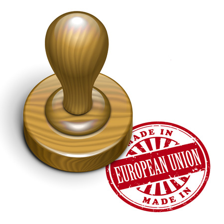 rubberstamp: illustration of grunge rubber stamp with the text made in European Union written inside
