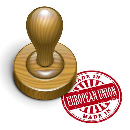rubberstamp: illustrazione di timbro di gomma grunge con il testo made in Unione Europea scritto dentro Vettoriali