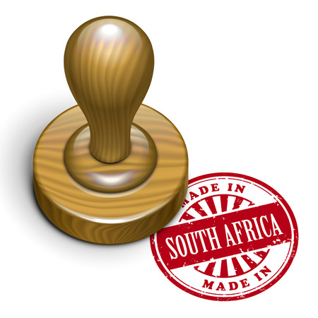 rubberstamp: illustrazione del grunge timbro di gomma con il testo realizzato in Sud Africa scritto dentro Vettoriali