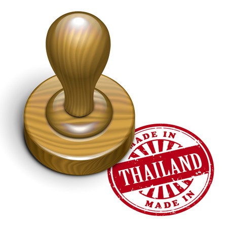 illustration of grunge rubber stamp with the text made in Thailand written inside Vector
