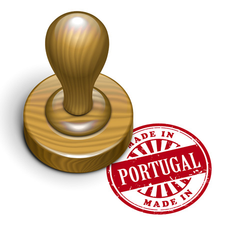 produced: illustration of grunge rubber stamp with the text made in Portugal written inside