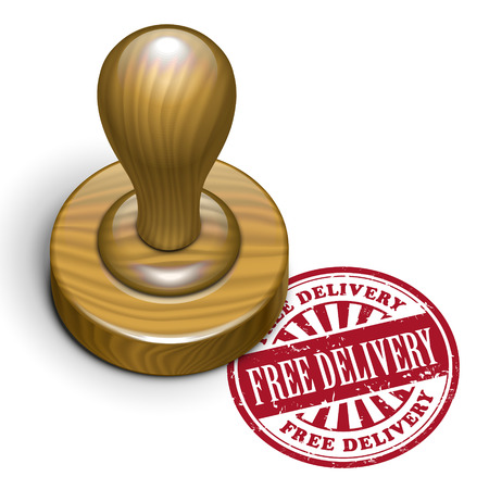 mailed: illustration of grunge rubber stamp with the text free delivery written inside