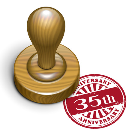 35th: illustration of grunge rubber stamp with the text 35th anniversary written inside
