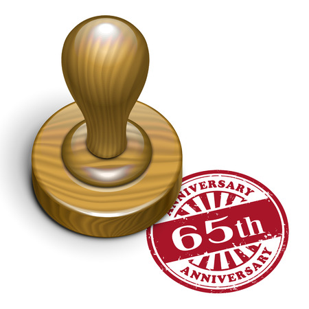 65th: illustration of grunge rubber stamp with the text 65th anniversary written inside Illustration
