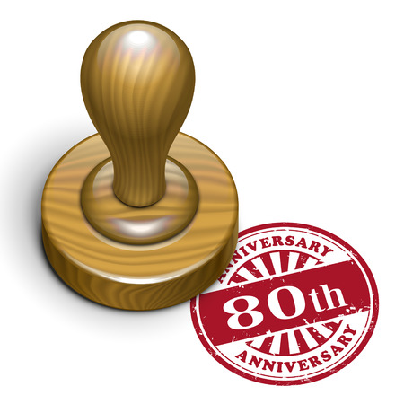 80 years: illustration of grunge rubber stamp with the text 80th anniversary written inside