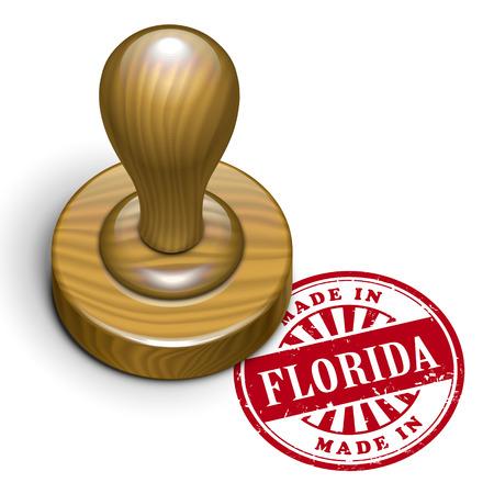 rubberstamp: illustrazione di timbro di gomma grunge con il testo realizzato in Florida scritto dentro