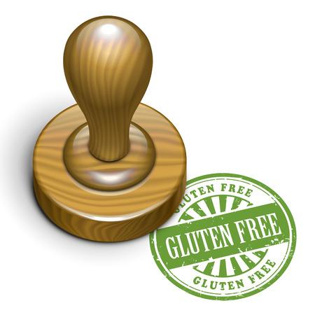 rubberstamp: illustrazione di timbro di gomma grunge con il glutine testo libero scritto all'interno