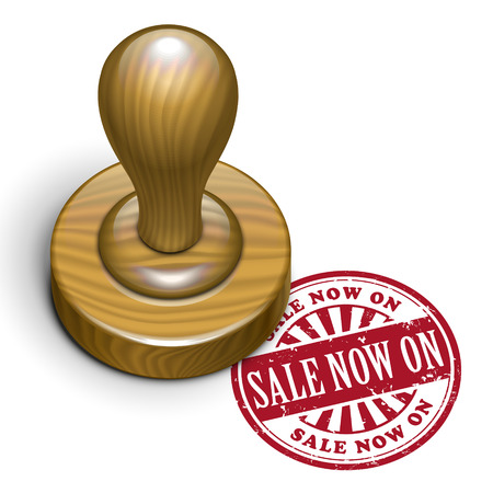 rubberstamp: illustration of grunge rubber stamp with the text sale now on written inside